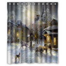 Painting Snow Winter #01 Shower Curtain Waterproof Made From Polyester - $31.26+