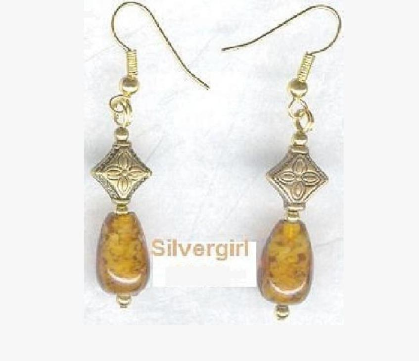 Golden Yellow Marbled Lampwork Teardrop Dangle Earrings