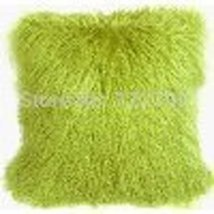 Two Sides Real Green Tibetan Lamb Pillow Mongolian Fur Throw Cushion Cov... - $63.99+