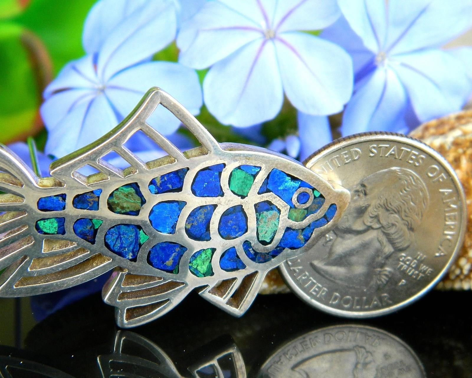 Vintage Fish Goldfish Koi Brooch Pin Mexico 950 Sterling Silver Lapis