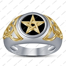 925 Sterling Silver Two Tone Plated W/ Black Enamel Triquetra Trinity Knot Ring - $78.99