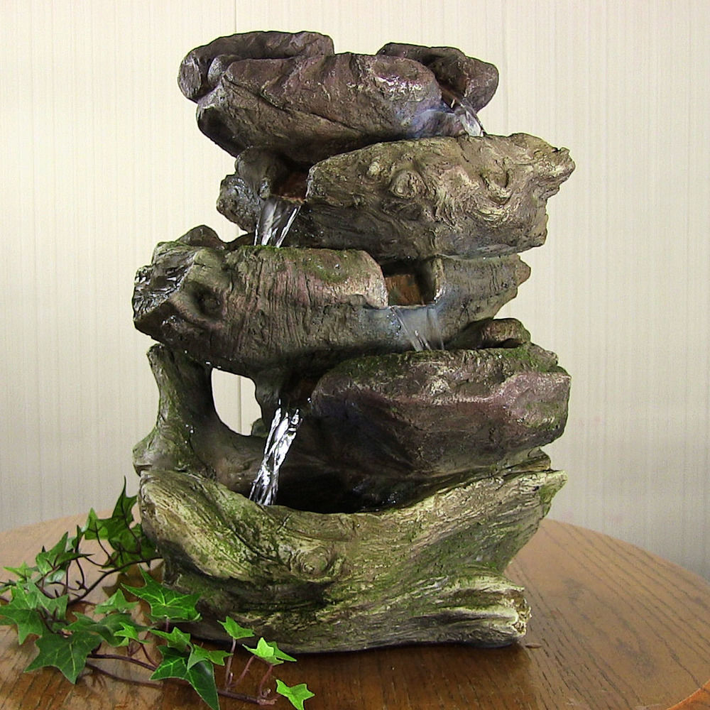 "Home Decor Fountain: 14"" Indoor Tabletop Electric Rock LED Light Water Fountain"