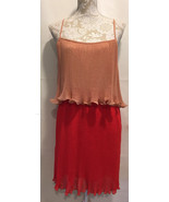Ark and Co Women Career Coral Red Tiered Pleated Sleeveless Dress Sz L L... - $15.59
