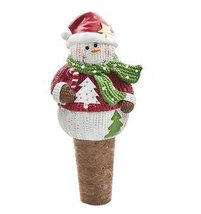 Santa Costume With Green Scarf Snowman Wine Bottle Topper and Cork - By ... - £6.13 GBP