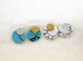 Round circle disk Gemstone Stud earrings, Marble disk earrings (Turquois... - $15.00
