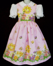 NEW Handmade Daisy Kingdom Sunny Friends Pink Border Dress Custom Sz 12M-14Yrs - $59.98