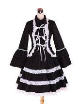 ZeroMart Black Cotton White Lace Ruffle Retro Victorian Gothic Lolita Dress - $69.99