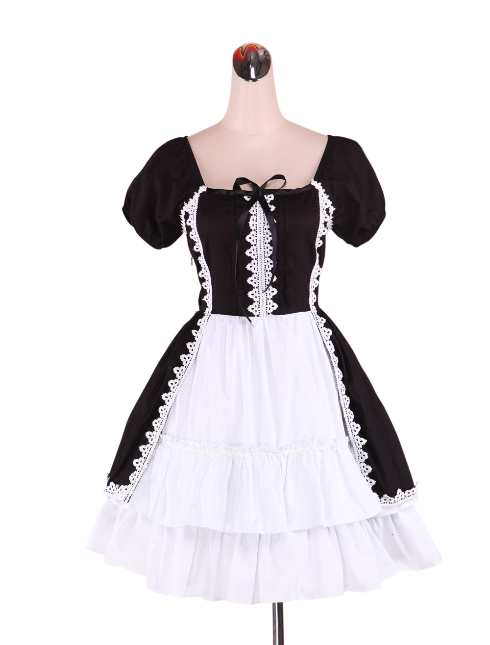 Primary image for ZeroMart Black and White Cotton Ruffle Vintage Gothic Victorian Maid Lolita Dres