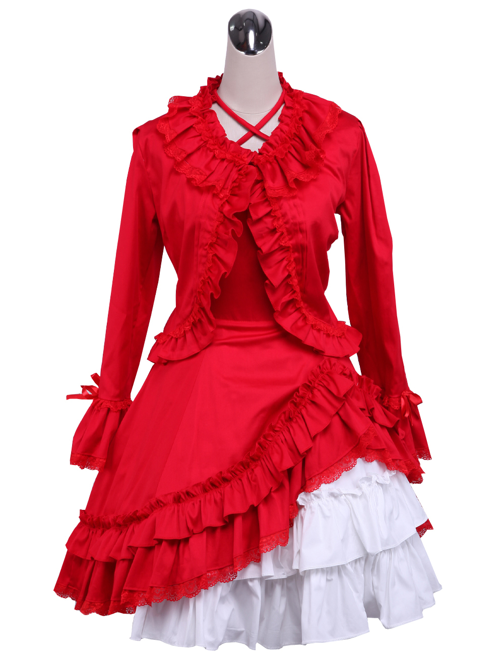 Primary image for ZeroMart Red Cotton Ruffle Lace Retro Victorian Long Sleeve Classic Lolita Dress