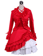 ZeroMart Red Cotton Ruffle Lace Retro Victorian Long Sleeve Classic Loli... - $69.99