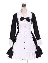 ZeroMart White and Black Cotton Bow Ruffle Maid Retro Gothic Victorian Lolita Dr - $69.99