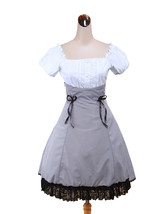ZeroMart Grey Cotton Lace Ruffle Maid Vintage Victorian Puff School Loli... - $69.99