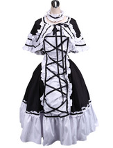 ZeroMart Black and White Cotton Retro Gothic Victorian Ruffle Classic Lo... - $69.99
