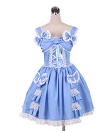 ZeroMart Blue Cotton Bows Ruffles Vintage Victorian Sweet Classic Lolita... - $69.99