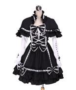 ZeroMart Black Cotton Bow Ruffle Detachable Cape Gothic Lolita Dress - $69.99