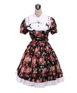 ZeroMart Black Cotton Floral Lace Ruffle Gothic Victorian Lolita Dress - $69.99