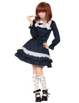 ZeroMart Navy Blue Cotton Lace Ruffle Bow Victorian School Cosplay Lolit... - $69.99