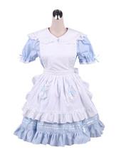 ZeroMart Blue Cotton Ruffles Maid Cosplay Vintage Victorian School Lolit... - $69.99