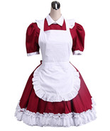 ZeroMart Red Cotton Lace Ruffles Maid Cosplay Victorian Sweet Lolita Dress - $69.99
