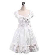 ZeroMart White Cotton Bow Ruffles Lace Sweet Vintage Victorian Lolita Dress - $69.99