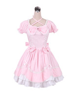 ZeroMart Pink Cotton Bow Ruffle Lace Sweet Retro Victorian Lolita Dress - $69.99