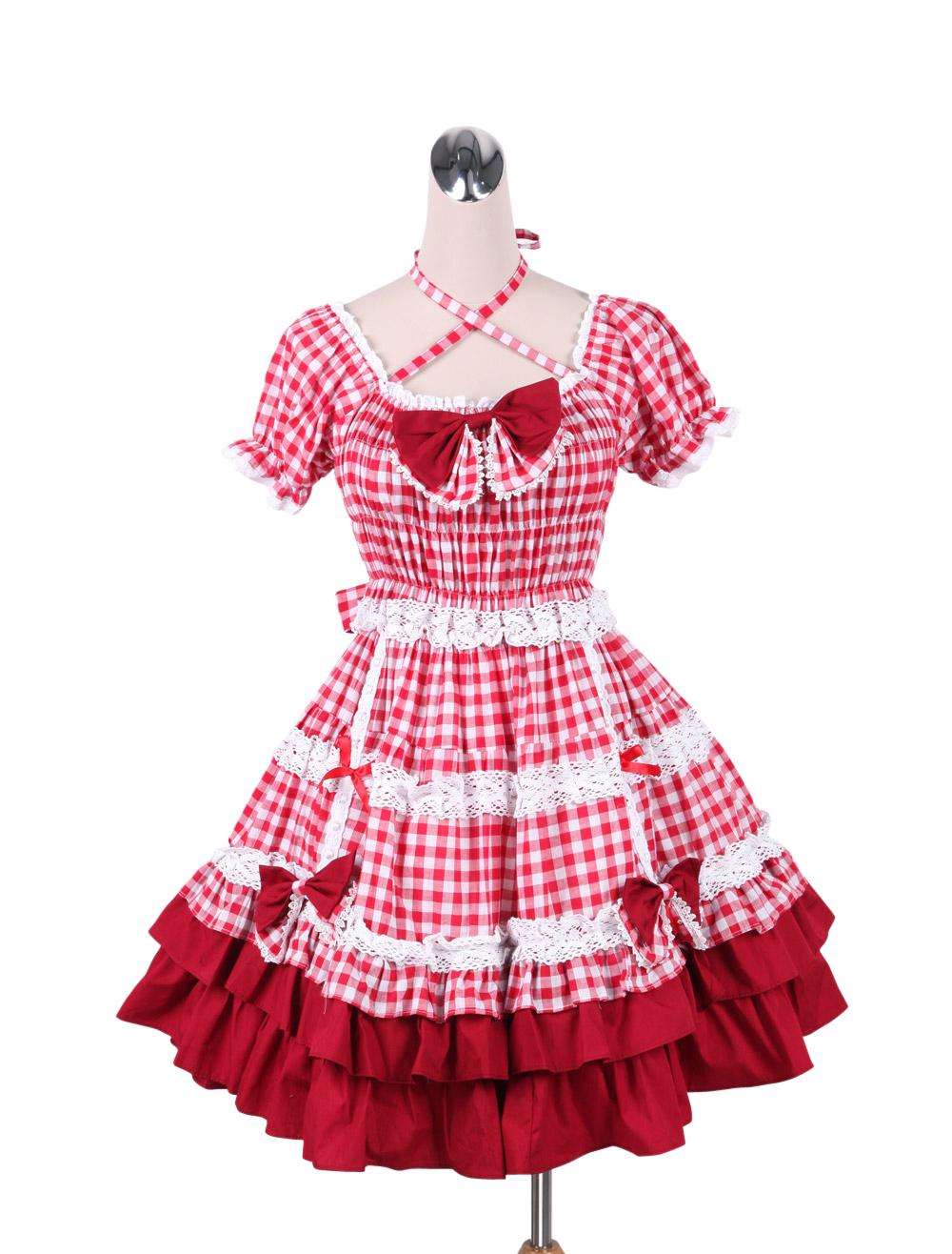 Primary image for ZeroMart Red Cotton Bow Ruffles Vintage Victorian Sweet School Lolita Dress