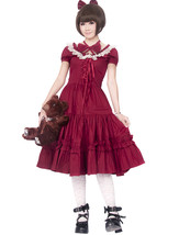 ZeroMart Red Cotton Lace Ruffles Bow Victorian Sweet School Lolita Dress - $69.99
