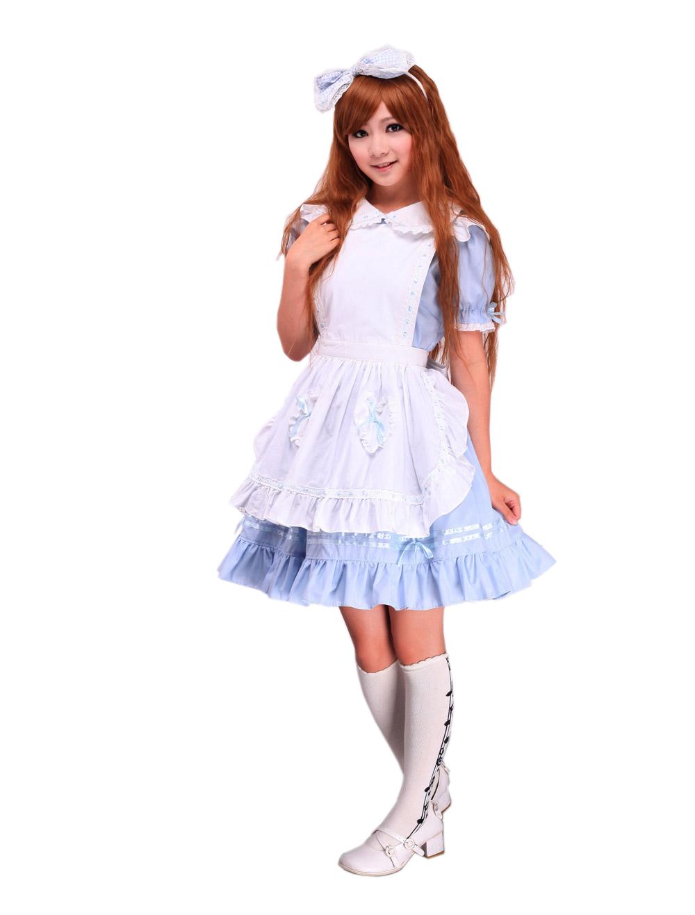Zeromart Blue Cotton Ruffles Maid Cosplay Vintage -2071