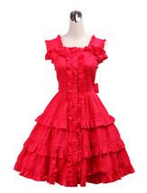 ZeroMart Red Cotton Halter Ruffles Sweet Retro Victorian Classic Lolita ... - $69.99