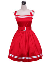 ZeroMart Red Cotton Halter Sash Cute Sweet School Classic Lolita Dress - $69.99