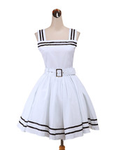 ZeroMart White Cotton Sash Ruffles Halter Sweet Cute School Classic Loli... - $69.99
