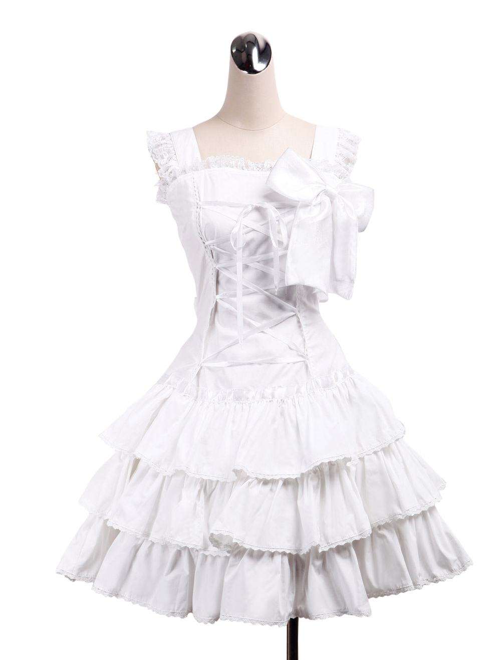 Primary image for ZeroMart White Cotton Bow Ruffles Lace Cute Sweet Retro Victorian Lolita Dress
