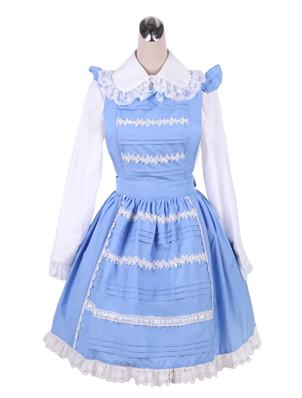 Primary image for ZeroMart Blue Cotton Lapel Maid Cosplay Cute Vintage Victorian Lolita Dress