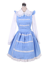ZeroMart Blue Cotton Lapel Maid Cosplay Cute Vintage Victorian Lolita Dress - $69.99
