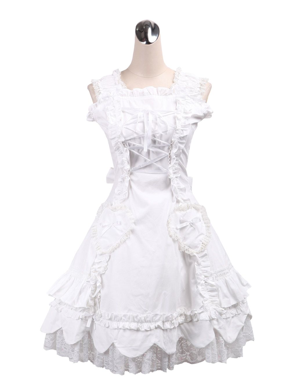 Primary image for ZeroMart White Cotton Halter Lace Ruffles Vintage Victorian Sweet Lolita Dress