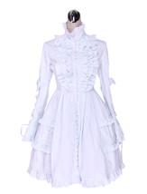 ZeroMart White Cotton Lace Sweet Ruffles Vintage Victorian Classic Lolit... - $69.99