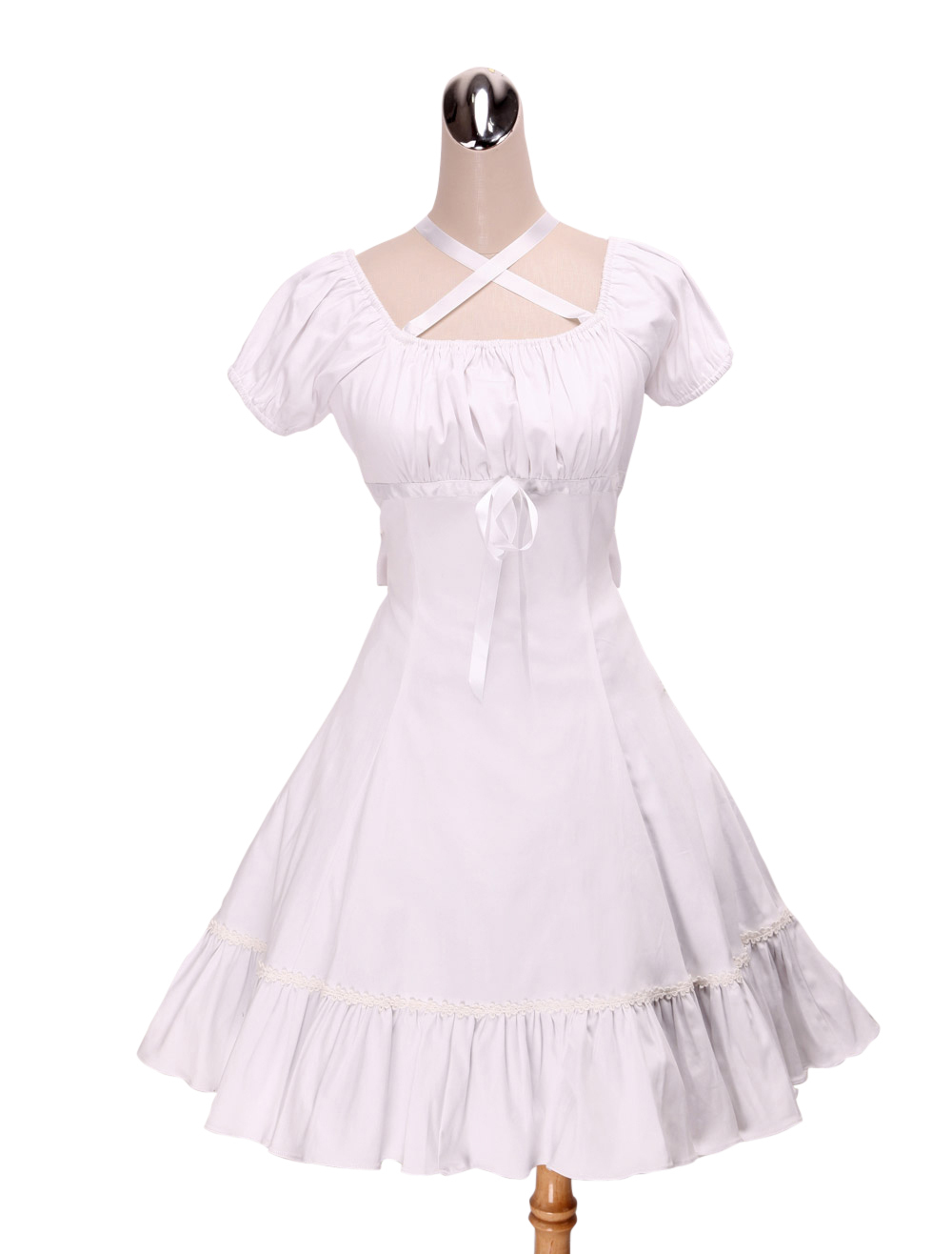 Primary image for ZeroMart White Cotton Empire Waist Ruffles Cute Sweet School Lolita Dress