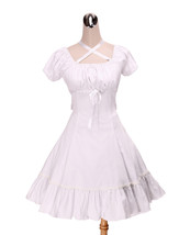 ZeroMart White Cotton Empire Waist Ruffles Cute Sweet School Lolita Dress - $69.99