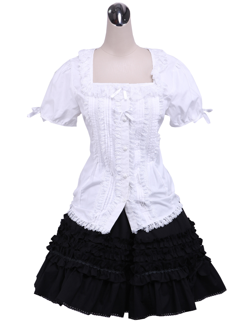 Primary image for ZeroMart White Cotton Lolita Puff Sleeve Blouse and Black Lace Classic Skirt