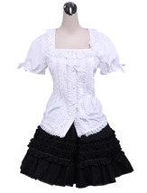 ZeroMart White Cotton Lolita Puff Sleeve Blouse and Black Lace Classic S... - $69.99