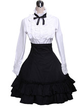 ZeroMart White Cotton Lolita Blouse and Black Ruffles Lolita Skirt Outfit - $69.99
