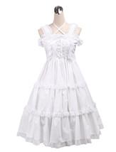 ZeroMart White Cotton Lace Sweet Ruffles Halter Vintage Victorian Lolita... - $69.99