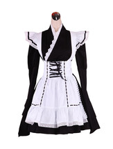 ZeroMart Black and White Cotton Kimono Lace Ruffle Maid Cosplay Lolita D... - $69.99