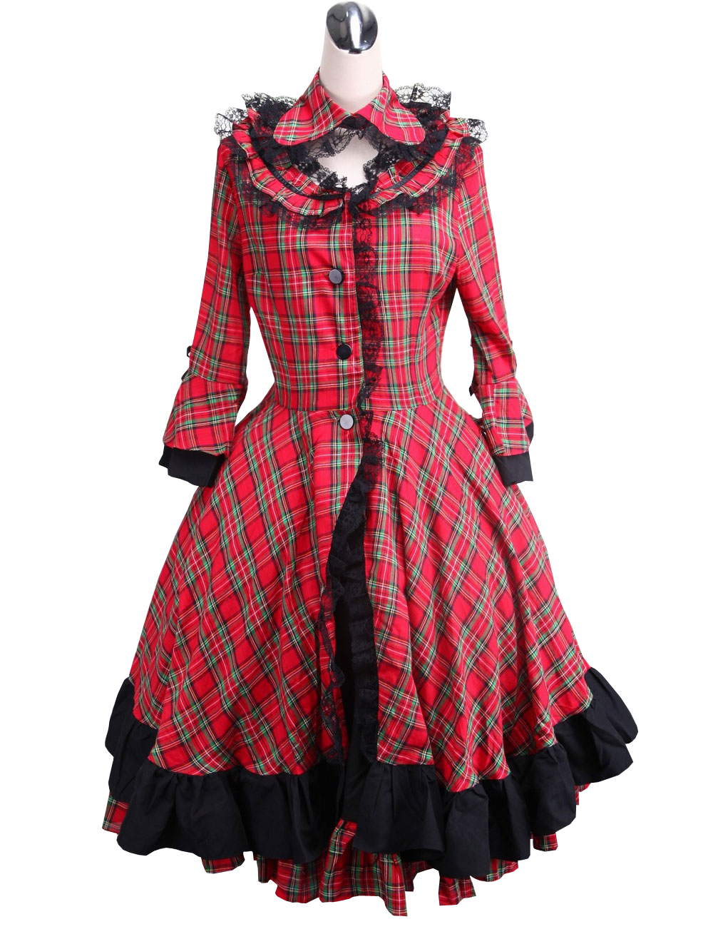 Primary image for ZeroMart Red Cotton Plaid Ruffle Lace Vintage Victorian School Lolita Dress