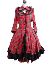 ZeroMart Red Cotton Plaid Ruffle Lace Vintage Victorian School Lolita Dress - $69.99