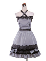 ZeroMart Grey Cotton Halter Polka Dot Sweet Gothic Victorian School Loli... - $69.99