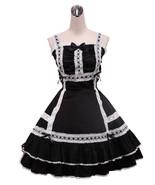 ZeroMart Black Cotton Bow Halter Ruffles Vintage Gothic Victorian Lolita... - $69.99