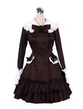 ZeroMart Chocolate Cttton Bows Ruffles Vintage Victorian Classic Lolita ... - $69.99