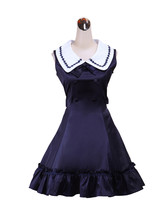 ZeroMart Deep Blue Cotton Buttons Bow Ruffle Sailor Sweet Lolita Dress - $69.99