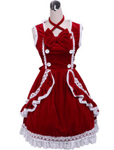 ZeroMart Red Cotton Bow Ruffles Lace Halter Vintage Victorian Lolita Dress - $69.99